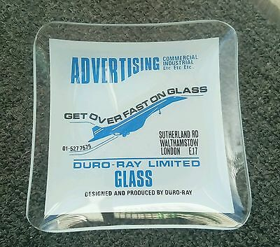 Duro-Ray Glass Advertising Ashtray featuring Concorde