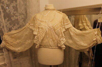 Evelyn Neis Adelaide 70s antique tambour chantilly lace blouse 8 10 Victoriana