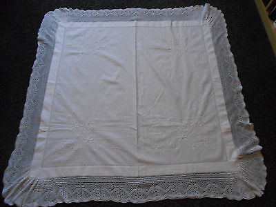 Beautiful Vintage Linen Whitework Embroidered Tablecloth