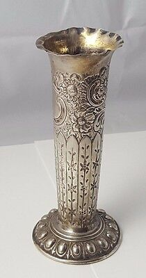 ANTIQUE - SOLID STERLING SILVER - VASE - HALLMARKED - 17cm TALL - 98.8g - RARE