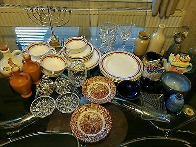 Job Lot Car Boot sale mantle China plates teapot Crystal Glass from Wakefield