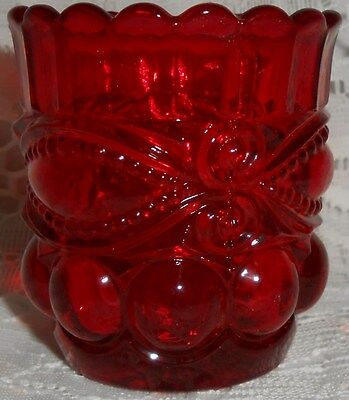 Royal Ruby Red glass eyewinker pattern toothpick match holder gold q-tip candle