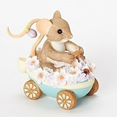 Charming Tails An Egg-Stra Beautiful Ride Mouse Egg Figurine NEW 19386 Easter