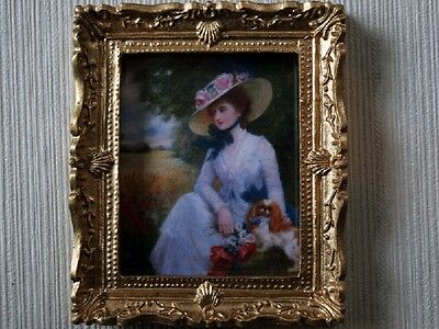 Lady In Hat Picture In Ornate Golden Frame, Doll House Miniature, Wall Decor