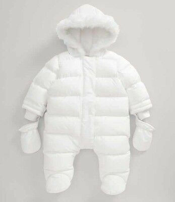 mamas and papas baby girls white pramsuit with fur trim hood 6-9mths BNWT A