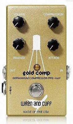 NEW WREN AND CUFF GOLD COMP COMPRESSOR / PRE-AMP PEDAL w/ FREE CABLE & 0$ US S&H