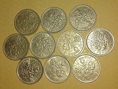 10 x 1966 sixpence - 50 year old coins