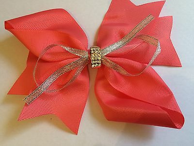 Girl's 6 inch Coral Colour Double Hair Bow w Rhinestones (clip)