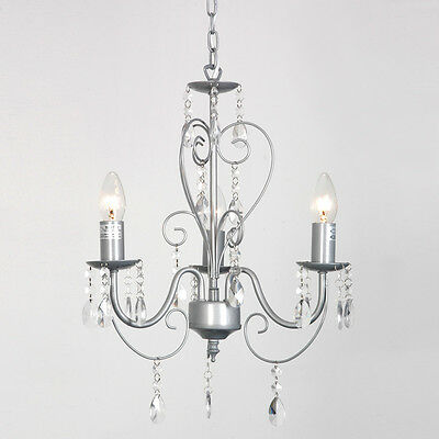 Silver 3 Way Vintage Shabby Chic Style Ceiling Light Chandelier Fittings Lights