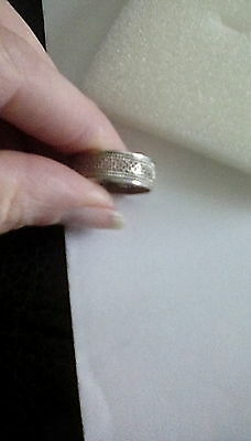 Sterling silver woven band ring size Q 1/2 - 2g