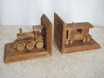 Vintage Wood Train Bookends Engine and Caboose Handcrafted