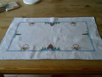 Antique/Vintage Hand Embroidered Petit Point Cross Stitch Tray/Table Cloth