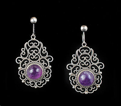 vintage Mexican silver dangle Earrings sterling amethyst intricate Taxco Deco st
