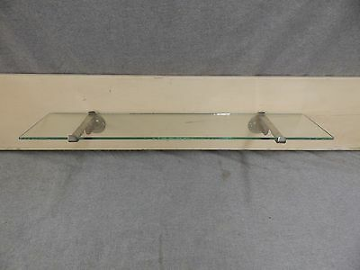 "Antique 24"" Glass Shelf Nickel Brass Brackets Brasscrafters Fixture 16-17E-13"