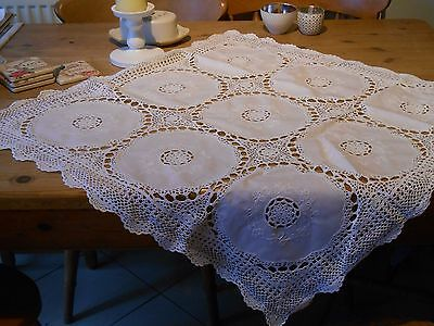 "Beautiful Vintage Hand Embroidered and Crocheted 32"" Square Tablecloth"