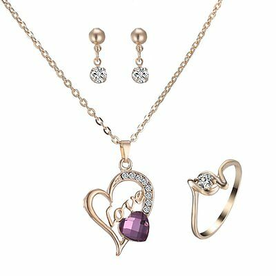 LOVE Style Gold Plated Jewellery Set Rhinestone Crystal Ring Earrings & Necklace