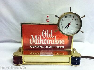 Old Milwaukee beer sign lighted bar clock chime 1962 nautical ships light GR6