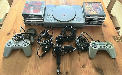 Sony PlayStation 1 Console SCPH-5502 with controllers and10 games