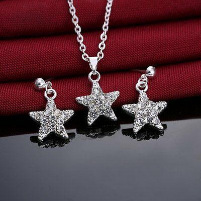 Classic Crystal Rhinestone Pendant Necklace and Earrings Crystal Star Jewellery