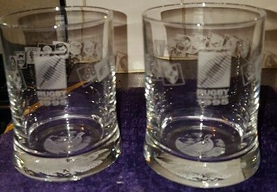 2 x FAMOUS GROUSE   WHISKEY GLASSES 1995 RUGBY WORLD CUP.