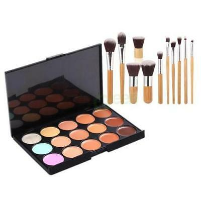 15 Colors Face Concealer Camouflage Cream Contour Palette 11PC Bamboo Brush New