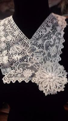 Two Fine Antique Lace Dress Inserts Collar Edwardian Victorian