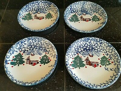 Tienshan Folk Craft Cabin in the Snow Salad / Dessert Plates set of four