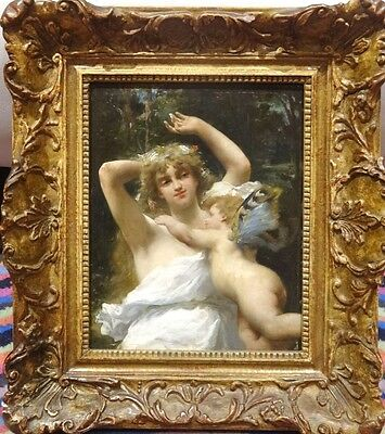Fine 19th Century French Classical Maiden Nymph & Cherub Antique Oil Painting