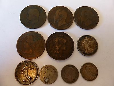 10 old French and Italian coins 1866-1916, bulk lot.