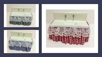 1:12 scale dolls house miniature vintage sink with gingham skirt 3 to choose.