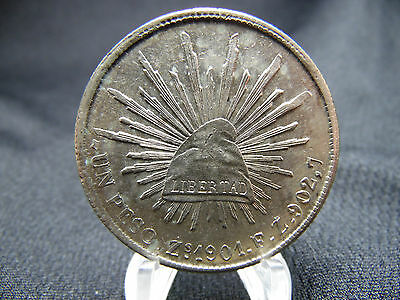 1901 Mexican Un Peso Zs FZ, replaced the (8R) 8 Reales DIE CRACK OBVERSE