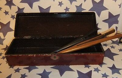Antique Lacquered Glove Box with Pair of Antique Wooden Glove Stretchers