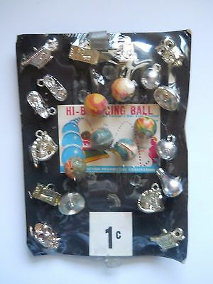 Vintage Vending Machine Display Header Card Toy Hi Bounce Balls Charms