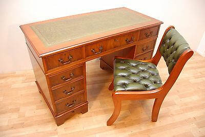Antique Style Yew Pedestal Writing Desk Green Leather top comes with Chair