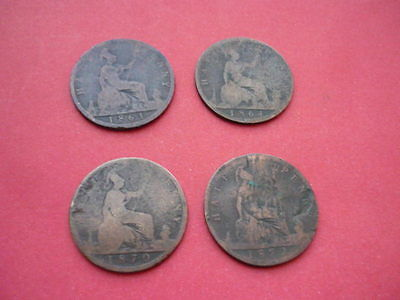 Victoria Halfpence collection (four coins)