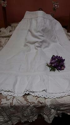 "Antique Girls French Petticoat Edwardian 1910 White Cotton Marcella 26"" Skirt"