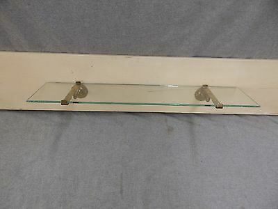 "Antique 24"" Glass Shelf Nickel Brass Brackets Brasscrafters Fixture 17-17E-13"