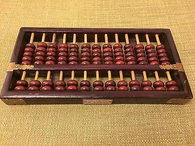 Vintage Wooden Chinese Abacus - 91 Beads - Rosewood Coloured