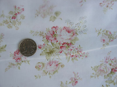 Mary Rose Faded Red and Pink Cabbage Roses on Cottage White- Retired HTF 1 Yd.
