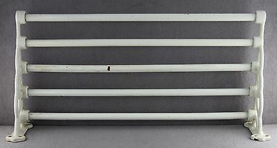 Victorian Era Antique White Enameled Cast Iron Wall Mounted Towel Drying Rack
