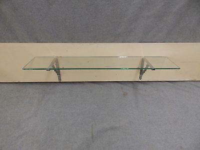 "Antique 24"" Glass Bathroom Kitchen Shelf Nickel Brass Brackets Fixture 18-17E-13"