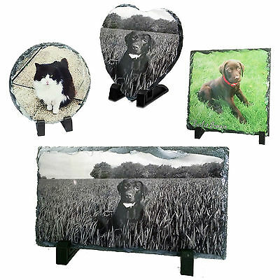 Pet Memorial Photo Rock Slate Plaque & Stand For Any Dog Cat Rabbit Parrot Pic