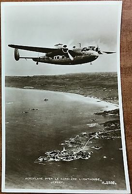 1930's Postcard - Lockheed L14 over Corbiere Lighthouse, Jersey