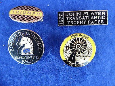 4 Bikes Biker Motorcycle  Enamel Pin Badges Triumph John Player John Rudge
