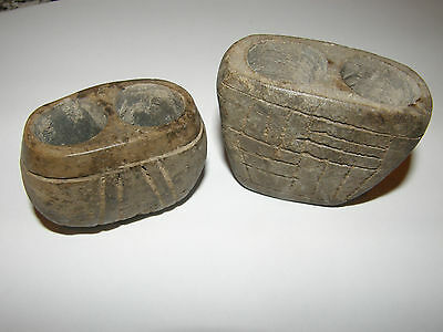 MEXICO TEOTIHUACAN ARTIFACT 2 CANDELERO VESSELS circa 400 - 600 A.D. PRE AZTEC