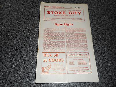 STOKE CITY  v  CARDIFF CITY  1958/9  ~  MARCH 14th  *****FREE POST*****