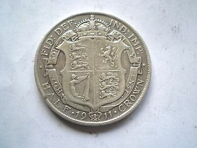 EARLY PRE WW1-GEORGE V- SILVER 1/2 CROWN COIN FROM THE UK DATED-1911 nice