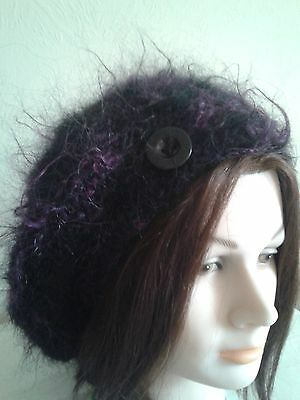 Hand Knitted Ladies Soft Mohair Blend Slouch Beret Beanie Size 'm'