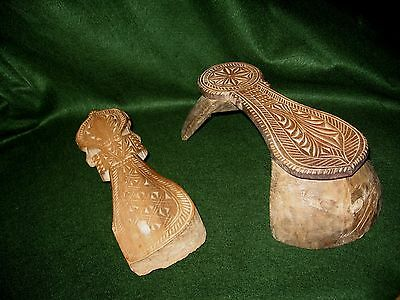 Antique 19th c. Indian/Asian Carved Wood Paduka Odd Shoes~1 Big 1Small