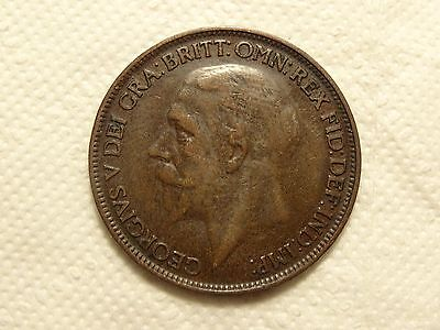 1926me Modified Effigy George V Penny -COIN NR 1